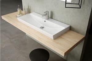 SET-UP Washbasin 86 cm, One tap hole washbasin made with fine ceramic