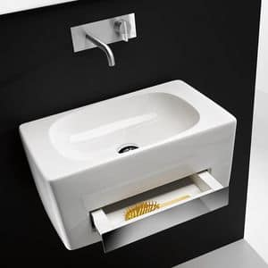 TOWER CR PLUS BASIN, Wall-mounted washbasin in ceramic with integrated drawer