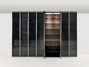 App E, Wardrobe with hinged door in crystal, for bedroom