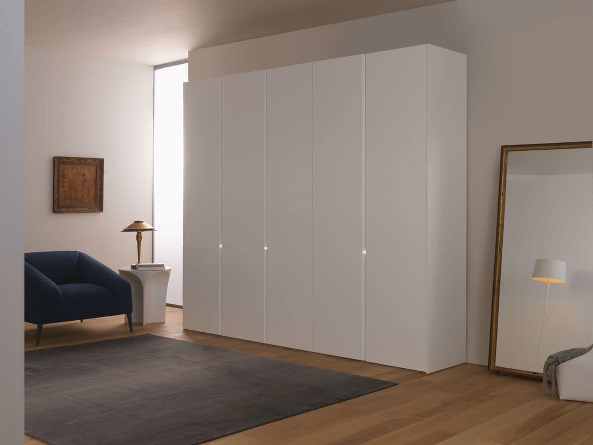 Modern Wardrobe Sliding Or Hinged Doors White Lacquered