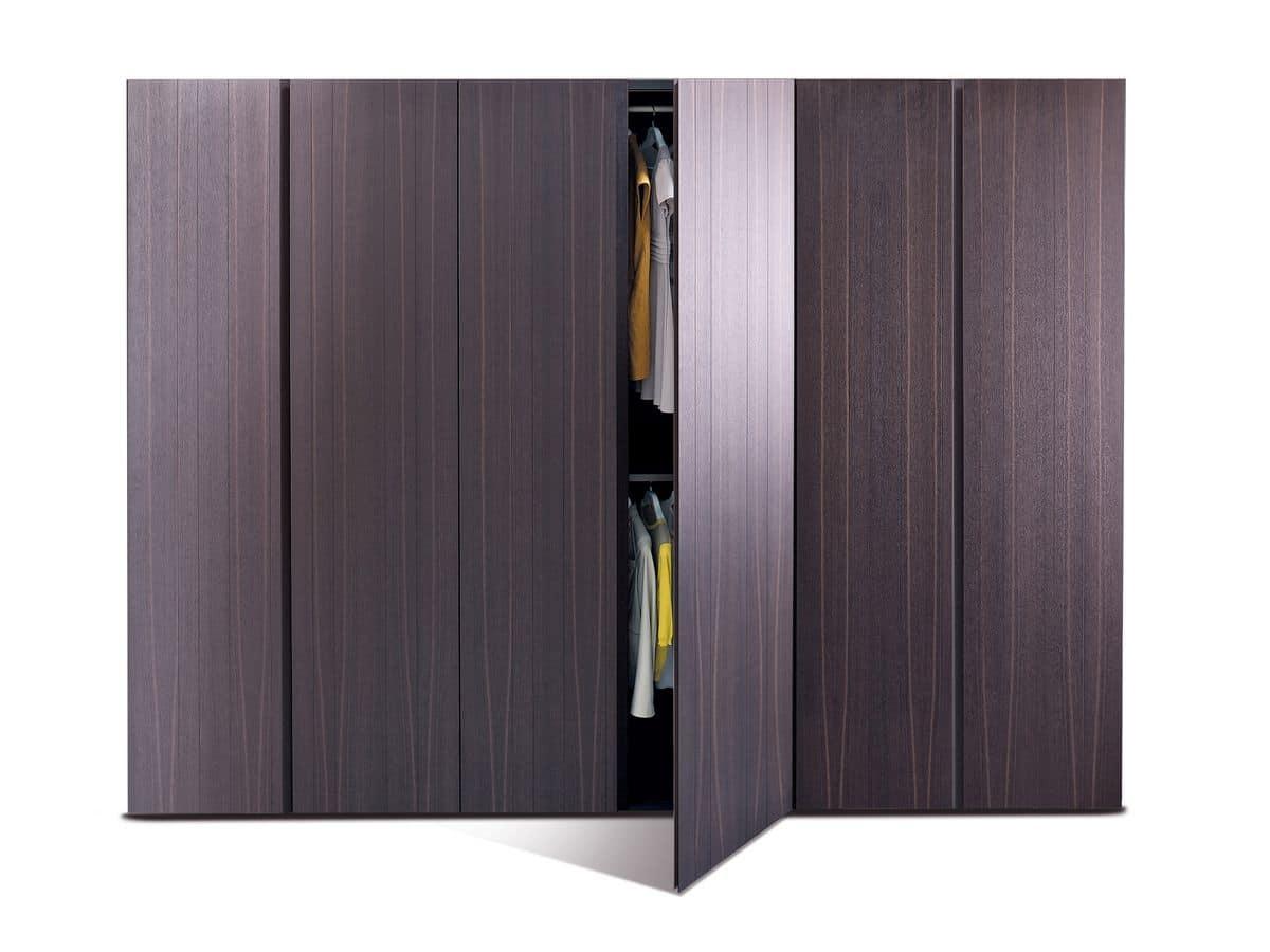 Sketch, Wardrobe with hinged doors, oak wood essence, for modern bedrooms
