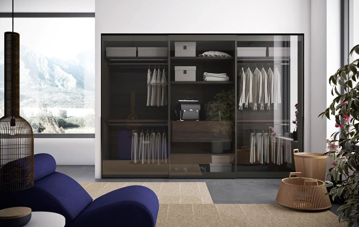 Wardrobe In Burnished Aluminum And Clear Glass Doors