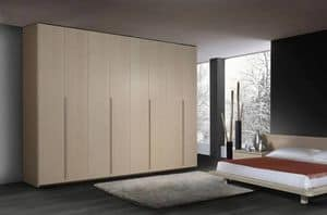 Wardrobe 22, Contemporary wooden wardrobe, 6 hinged doors, for bedrooms