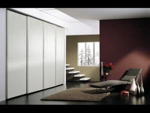 Wardrobe Coo 05, Wardrobe with 4 doors, in minimalist style, for hotels