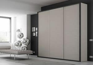 Wardrobe Frame AF 27, 3 door wardrobe with lacquered frame and drawers