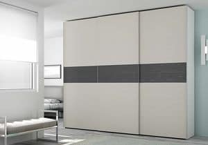 Wardrobe Slider AS 10, Wardrobe with internal drawers, with contrasting inserts