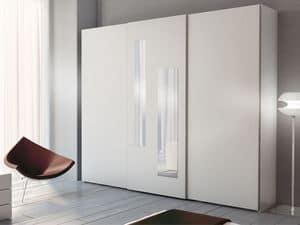 Wardrobe Zen 05, Wardrobe with 2 vertical mirrors on central door