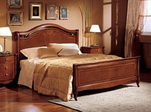 Alice bed wood, Double bed in hand-carved wood, for Villa