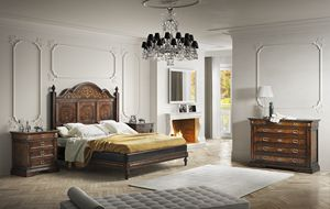Art. 673 bed, Classic style bed with inlaid headboard