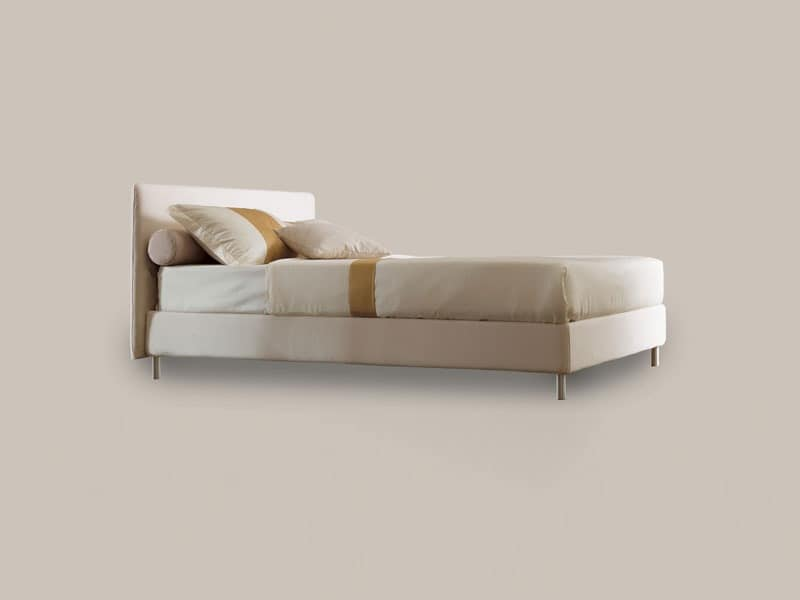 Astro, Single bed with wooden structure, aluminum feet