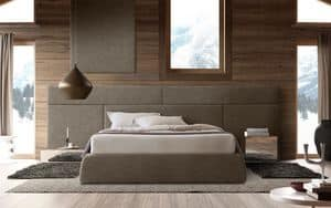 Boiserie comp.01, Wooden headboard for bed, modular and elegant