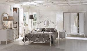 Caruso, Double bed in aluminum, for classic rooms