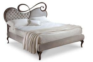 Chopin letto, Double bed, wood frame, upholstered headboard
