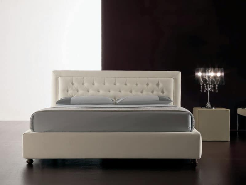 Classic, Modern bed upholstered with polyurethane, quilted headboard