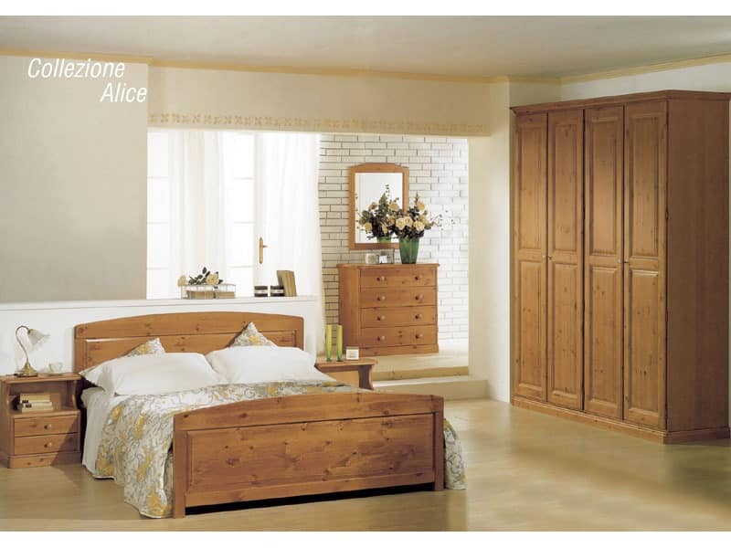 Collection Alice Double Bed, Wooden bed for chalets and rustic hotels