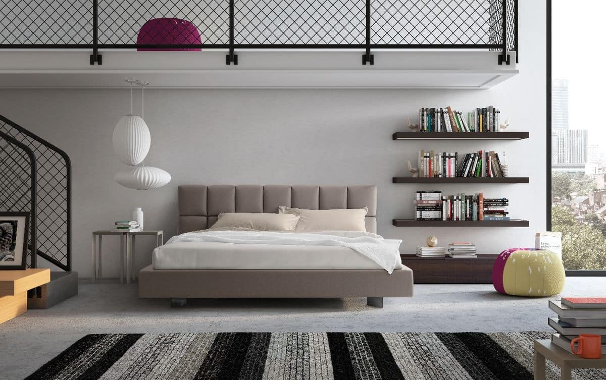 Cubic, Bed with upholstered and functional headboard, for modern bedroom