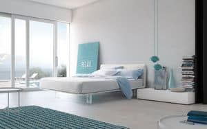 Filo bed, Bed with upholstered frame, methacrylate feet