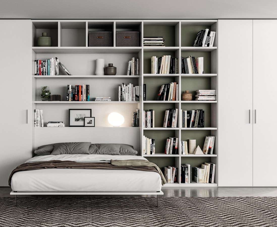 Space Efficient Bedroom Furniture: Space Saving Wardrobe With Double Pull-out Bed