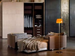 FLIPPER, Sofa bed modern with headboards movable on the perimeter