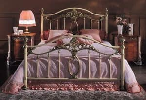GIORGIA 1299 BRO/AV, Bed in lacquered iron, brass finishing, for hotel