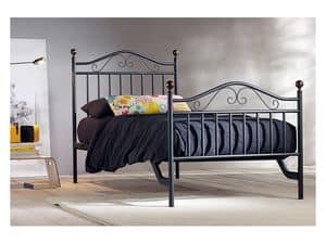 Giulia Single Bed, Iron handmade beds for Hotel Room