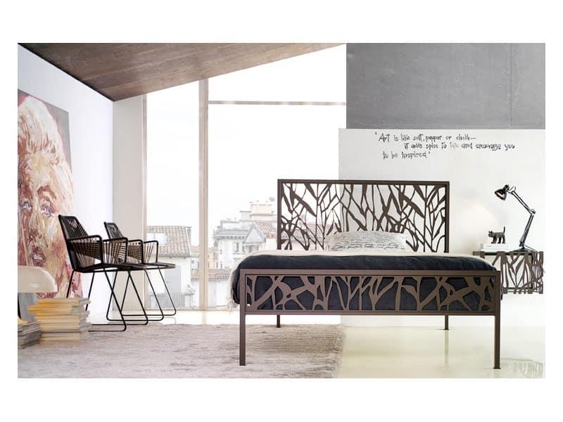 single bed and a half metal structure idfdesign. Black Bedroom Furniture Sets. Home Design Ideas