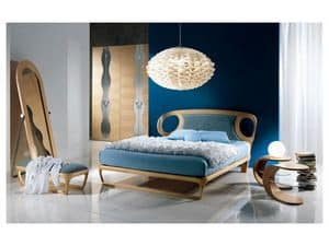LE15 Iride, Inlaid wood bed, upholstered headboard, for bedrooms