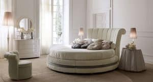 Luxury 5200 bed, Luxury round bed, upholstered in leather or fabric, for hotel suites