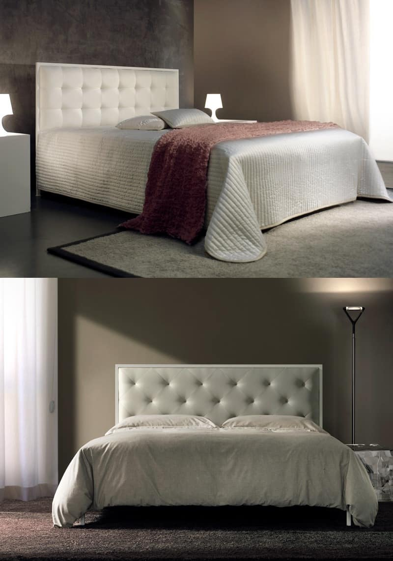 Minimal, Double bed with upholstered tufted headboard