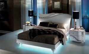 Mir� letto, Bed with fluid forms, with LED back-lighting