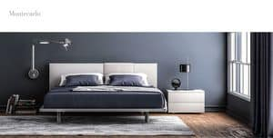 MONTECARLO, Double bed made of melamine and faux leather