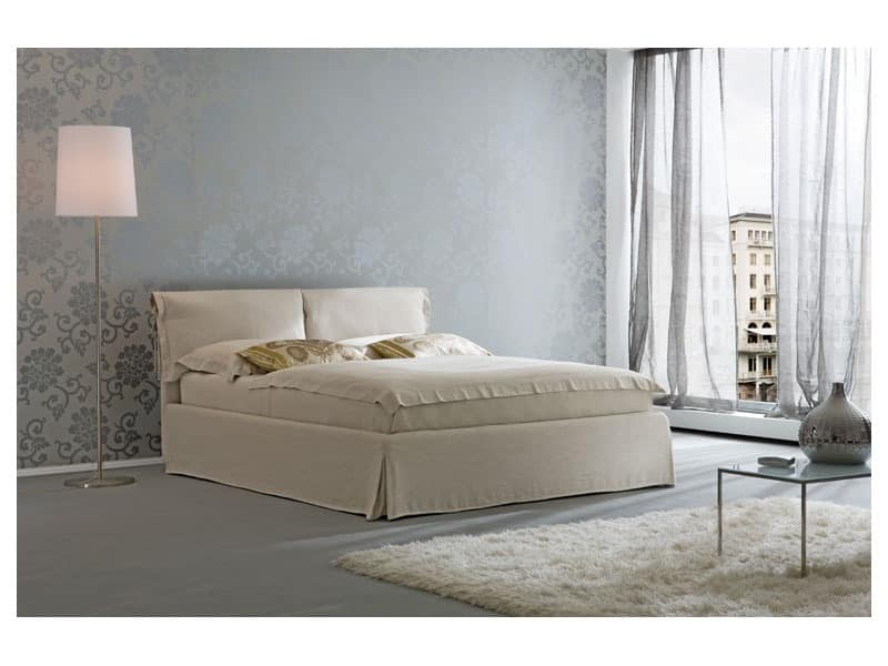 Nuvola, Modern bed, wooden structure, padded polyurethane