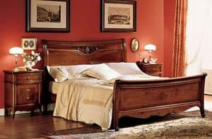 Opera bed, Wooden double bed with inlaid hand-made