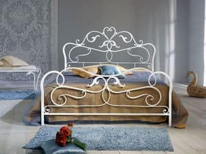 Rubens, Double bed in wrought iron, antique finish
