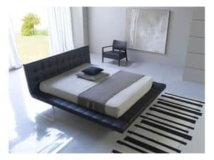 Picture of Star, bed upholstered in leather