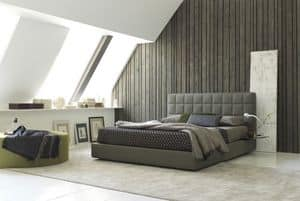 Picture of Vittoria plain bed , leather covered bed