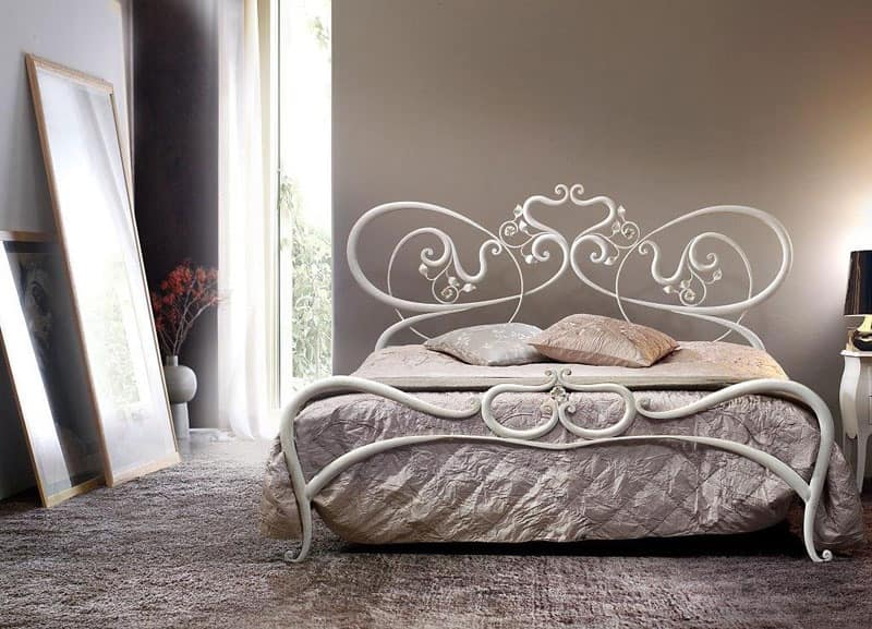 Double Metal Bed Curved Lines Romantic Bed Idfdesign