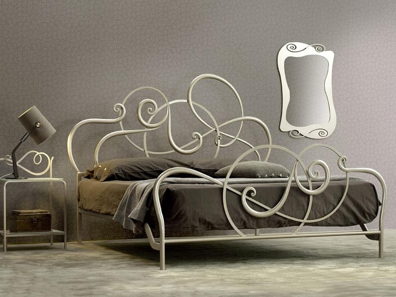 Black Wrought Iron Bed Frame Including White Floral Bed ...