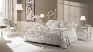 Rocco bed, Bed in drawn iron, tapered and forged elements