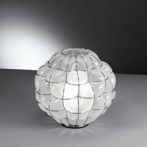 Pouff Rt383-035, Table lamp in antique etched glass inside