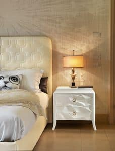 Art. VL722F, Bedside table with two drawers, shiny white finish