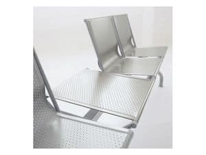Pitagora bench 2, Contemporary bench in perforated steel, for waiting rooms