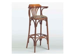 120, Classic wooden stool, padded seat, for Bistro