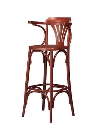 120, High stool for restaurant, in curved beech