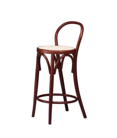 122, Curved wooden barstool for traditional hotel