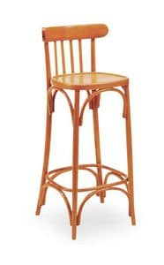 B07SG, Curved wooden barstool, back with vertical design, for bars and pubs