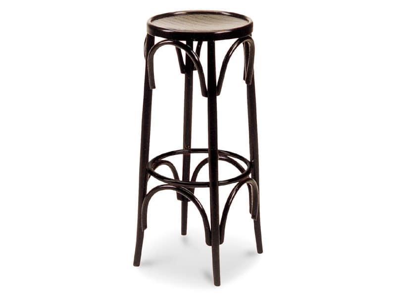 H80/8A, Wooden stool for bars and pubs, fixed height