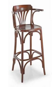 Strauss-SG, Wooden stool with armrests, Viennese style