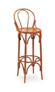 V11, Curved wooden barstool, for contract use