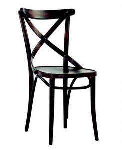 350 Croce, Wooden chair with cross backrest